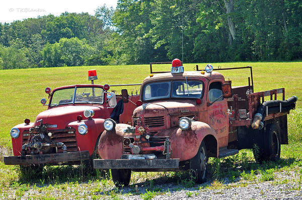 Photograph - Antique Firetrucks by Teresa Blanton