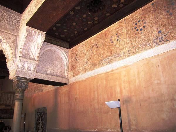 Photograph - Antique Interior Ceiling Designed Moulding Column Granada Spain by John Shiron