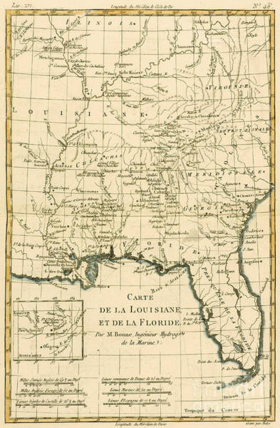Mapping Drawing - Antique Map Of Louisiana And Florida by Guillaume Raynal