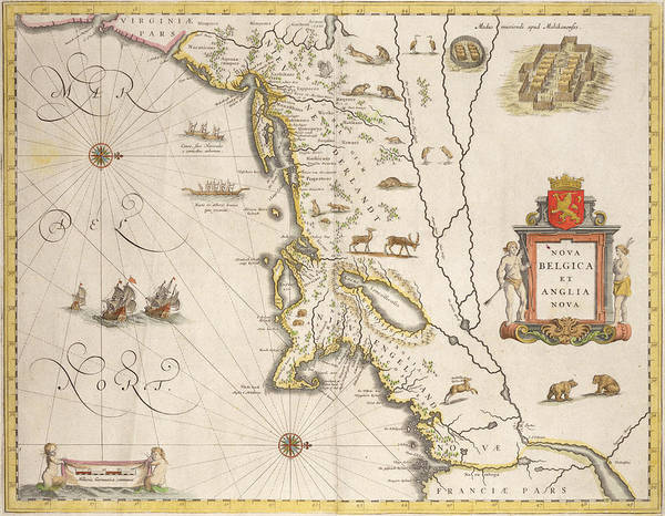 Bear Country Wall Art - Drawing - Antique Map Of New Belgium And New England by Joan Blaeu