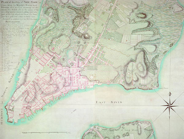 New York City Map Drawing - Antique Map Of New York by English School
