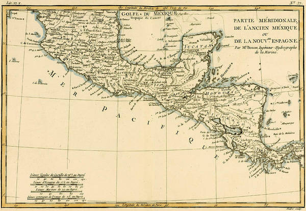 Honduras Wall Art - Drawing - Antique Map Of Southern Mexico by Guillaume Raynal