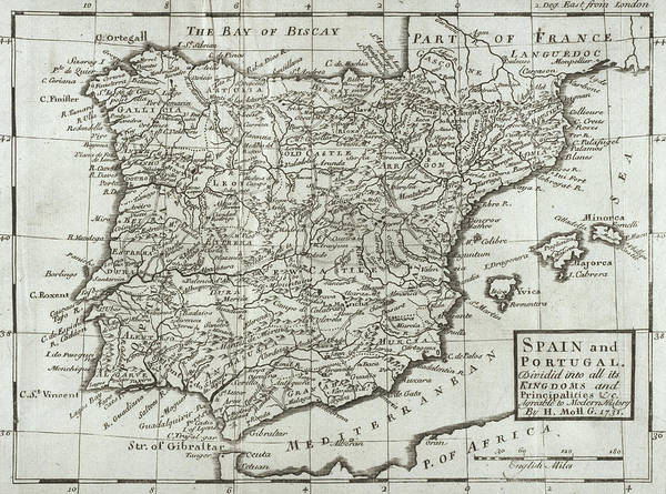 Cartography Photograph - Antique Map Of Spain And Portugal by Hermann Moll