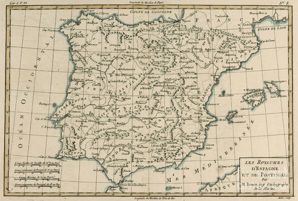Iberian Peninsula Wall Art - Drawing - Antique Map Of Spain by Guillaume Raynal