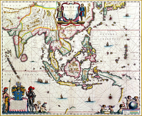 Mapping Drawing - Antique Map Showing Southeast Asia And The East Indies by Willem Blaeu