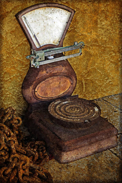 Rusty Chain Wall Art - Photograph - Antique Scale by John Stephens