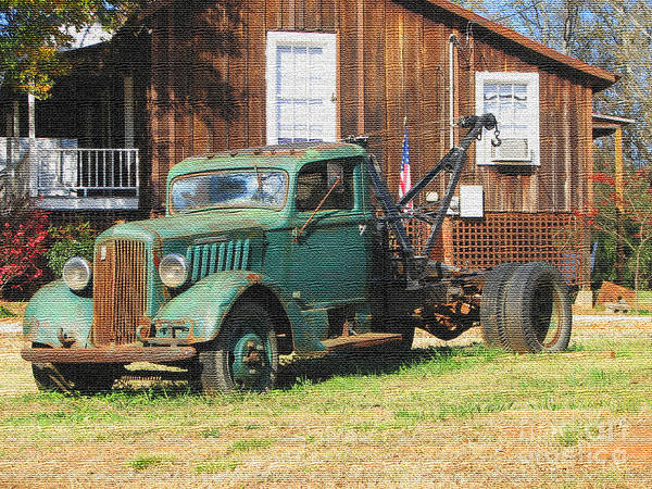 Photograph - Antique Tow Truck Textured by Barbara Bowen
