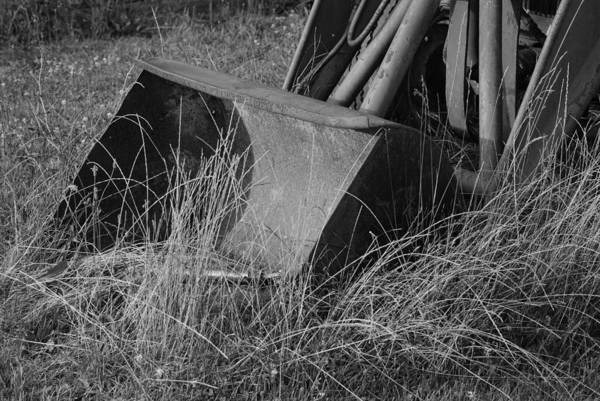 Photograph - Antique Tractor Bucket In Black And White by Jennifer Ancker