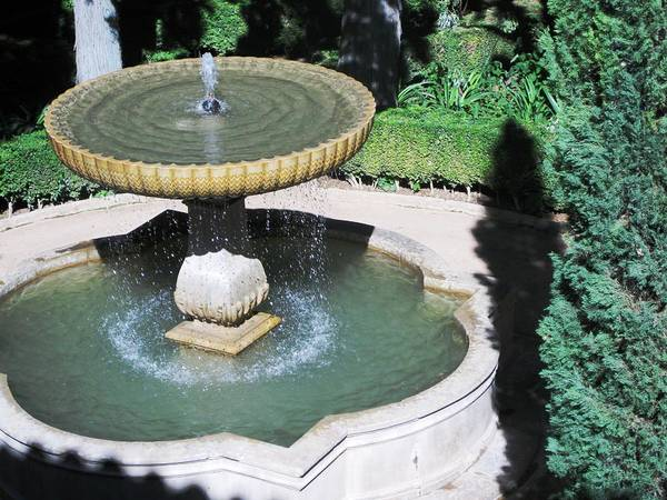 Photograph - Antique Water Fountain In The Courtyard Alhambra Granada Spain by John Shiron