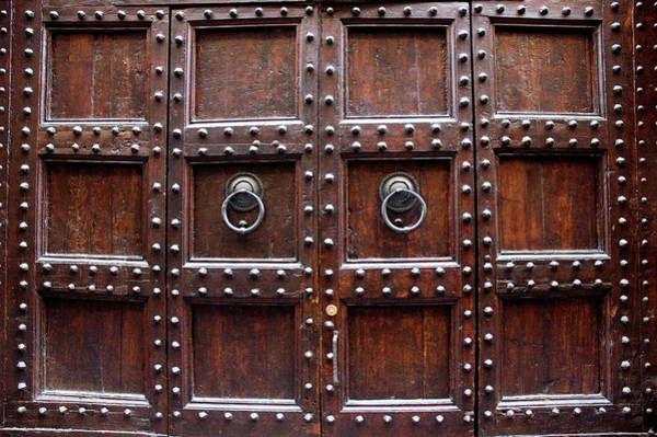 Protection Photograph - Antique Wood Door In Florence by Giuseppe Ceschi