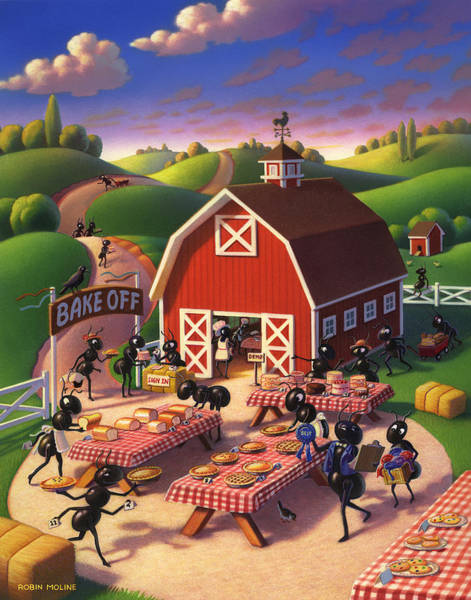 Wall Art - Painting - Ants At The Bake Off by Robin Moline
