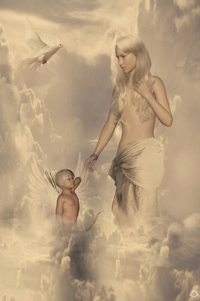 Birth Digital Art - Aphrodite And Eros by Lourry Legarde