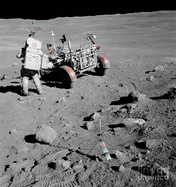 Photograph - Apollo 16 Astronaut Stands by Stocktrek Images