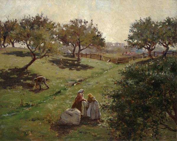 Pickers Wall Art - Painting - Apple Orchard by Luther  Emerson van Gorder