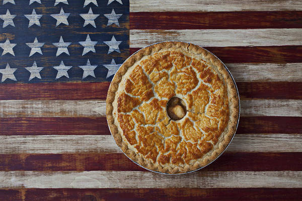 Filling Photograph - Apple Pie On Folk Art  American Flag by Garry Gay