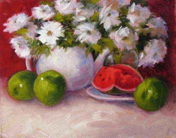 Wall Art - Painting - Apples And Watermellon by Linda Miller