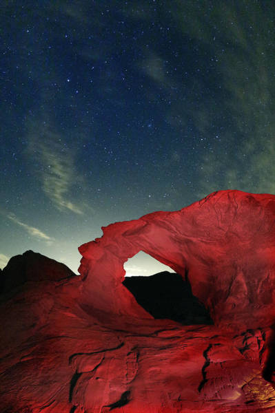 Valley Of Fire State Park Photograph - Arch And Stars by Rick Berk