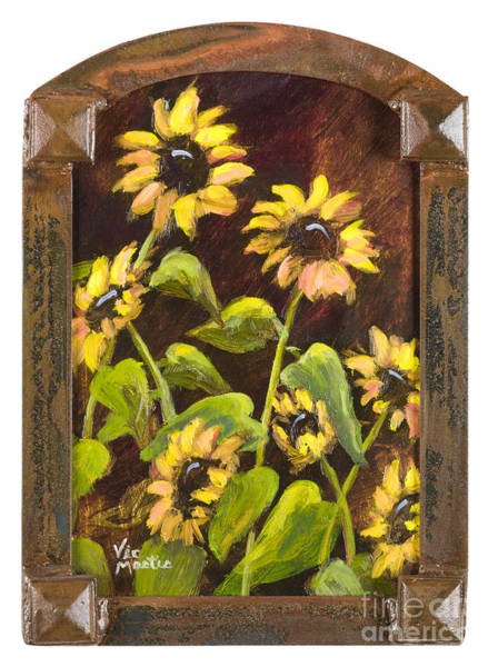 St Louis Arch Painting - Arched Sunflowers With Gold Leaf By Vic Mastis by Vic  Mastis