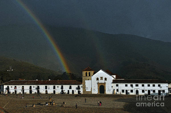 Boyaca Photograph - Arco Iris Rainbow Over Church Villa De Leyva Colombia by Peter Stiles
