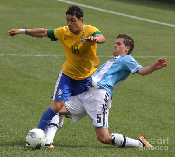 2010 Fifa World Cup Wall Art - Photograph - Argentina Vs Brazil Battle II by Lee Dos Santos