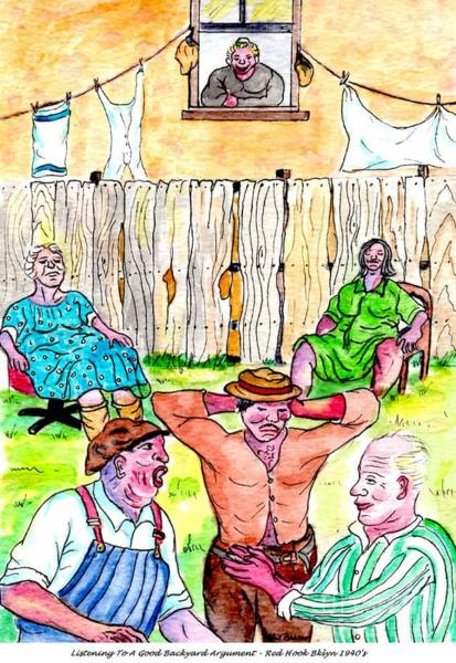 Painting - Arguing In The Backyard by Philip Bracco