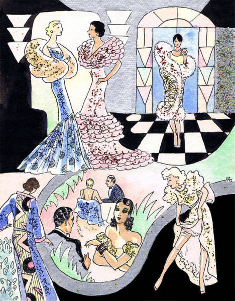 Flappers Drawing - Art Deco Checkerboard by Mel Thompson