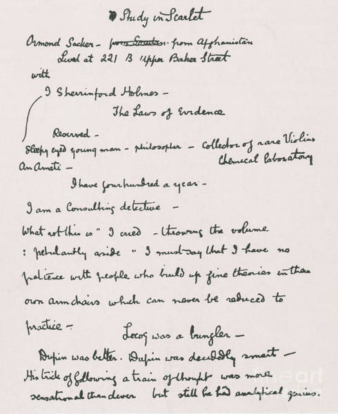 Conan Photograph - Arthur Conan Doyles Notes For A Study by Photo Researchers