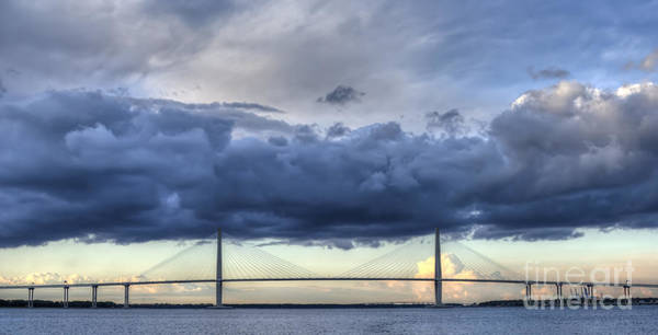 Cable-stayed Bridge Photograph - Arthur Ravenel Jr Bridge Charleston Sc Cooper River Storm Clouds by Dustin K Ryan