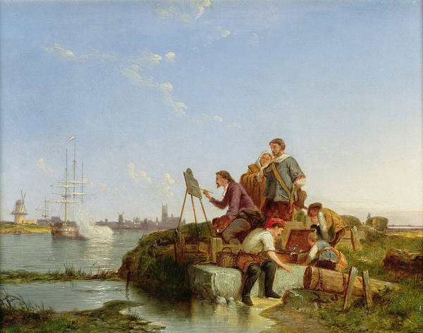 Beyond Painting - Artist At His Easel And Shipping Beyond by Pieter Christiaan Cornelis Dommelshuizen