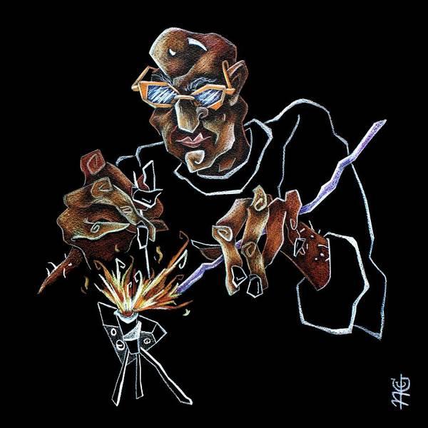 Black Magic Drawing - Artist Murano Glass Hand Made - Disegno Scuola Vetro Artistico Italia by Arte Venezia