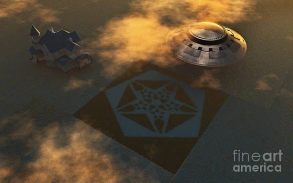 Aerial View Digital Art - Artists Concept Of Crop Circles Made by Mark Stevenson