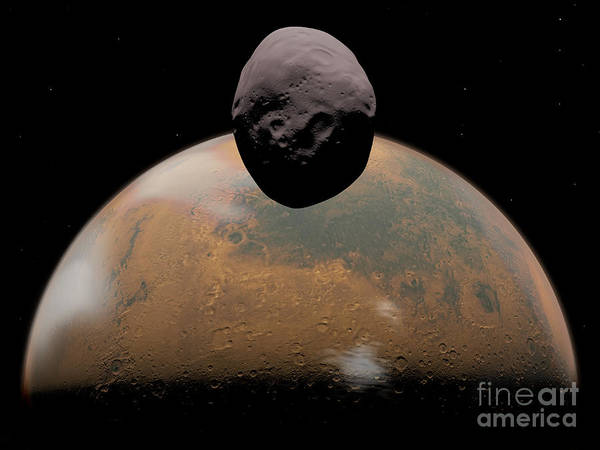 Digital Art - Artists Concept Of Mars And Its Tiny by Walter Myers