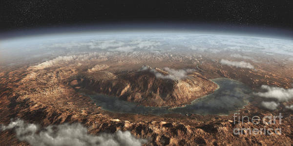 Aerial View Digital Art - Artists Concept Showing A Lake by Steven Hobbs