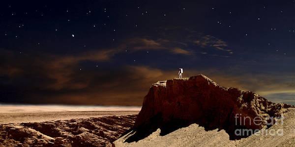 Digital Art - Artists Depiction Of A Lone Astronaut by Frank Hettick