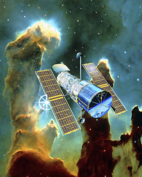 Tele Photograph - Artwork Of Hubble Space Telescope And Eagle Nebula by David Ducros