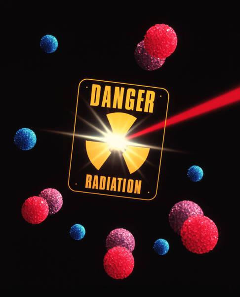Beta Radiation Photograph - Artwork Of Radiation And Radiation Warning Sign by Tony Craddock