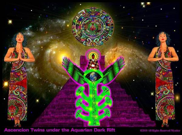 Deep Space Mixed Media - Ascencion Twins Under The Aquarian Dark Rift by Myztico Campo