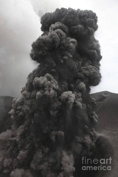 Yasur Photograph - Ash Cloud Rising From Summit Craters by Richard Roscoe