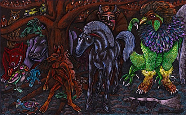Sorcery Drawing - Asil At The Forest Lord's Midnight Gathering In Shitaki by Al Goldfarb