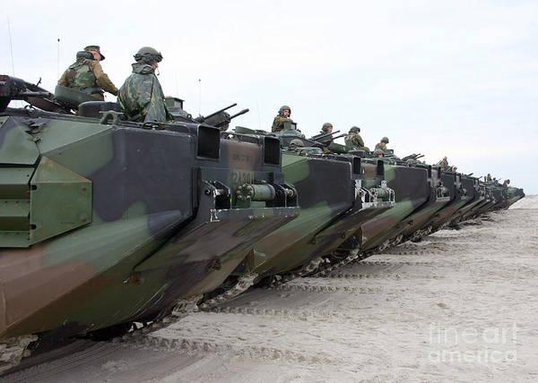 Aav Photograph - Assault Amphibian Vehicles Await by Stocktrek Images
