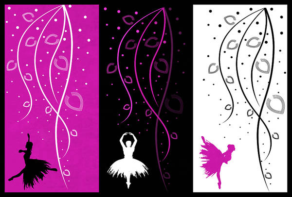 Digital Art - At The Ballet Triptych 2 by Angelina Tamez