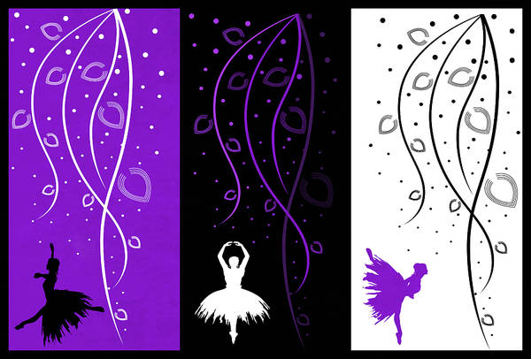 Digital Art - At The Ballet Triptych 3 by Angelina Tamez