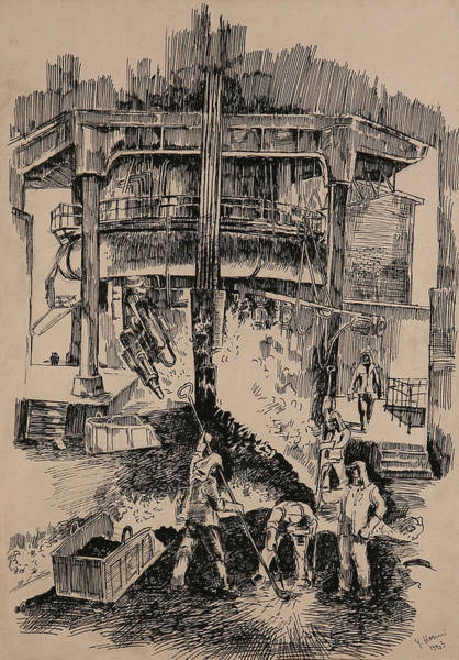 Iron Drawing - At The Blast Furnace by Ylli Haruni