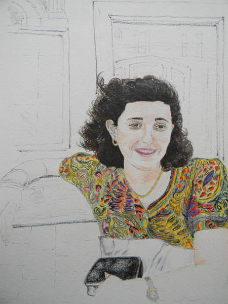 Drawing - At The Cafe' Centrale by Marwan George Khoury
