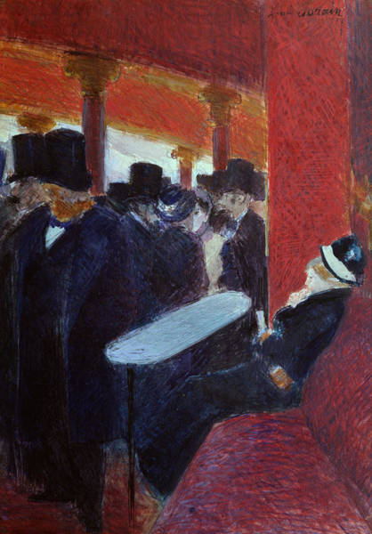 Parisian Cafe Painting - At The Folies Bergeres by Jean Louis Forain