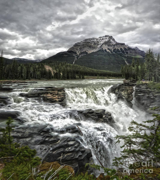 Painting - Athabasca Falls - Jasper National Park by Gregory Dyer