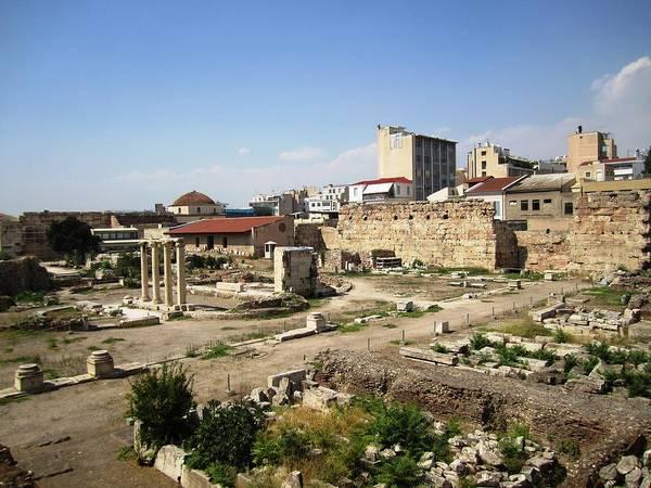 Photograph - Athens Ancient Ruins Columns Near Plaka District In Greece by John Shiron