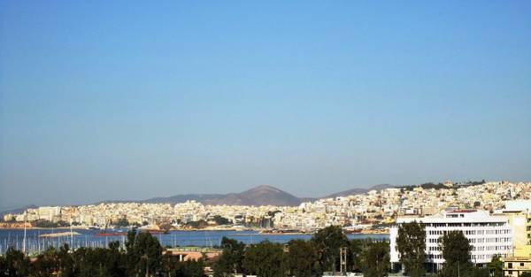Photograph - Athens Bay View II Aegean Sea View Homes In Greece by John Shiron