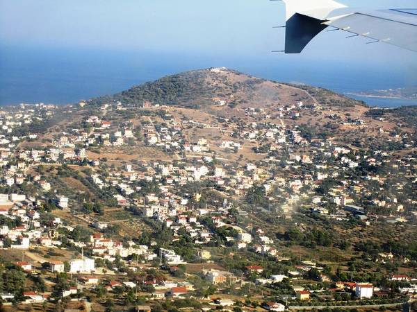 Photograph - Athens Landing Aerial View Of Athens And The Mediterranean Sea In Greece by John Shiron