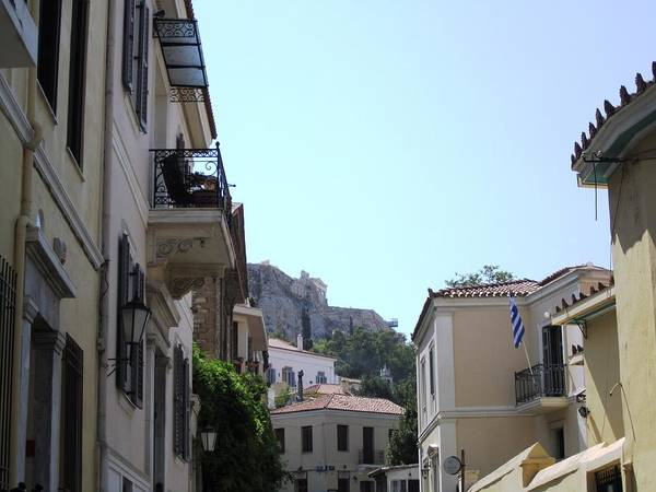 Photograph - Athens View Of Acropolis From Down Below In Plaka Greece by John Shiron